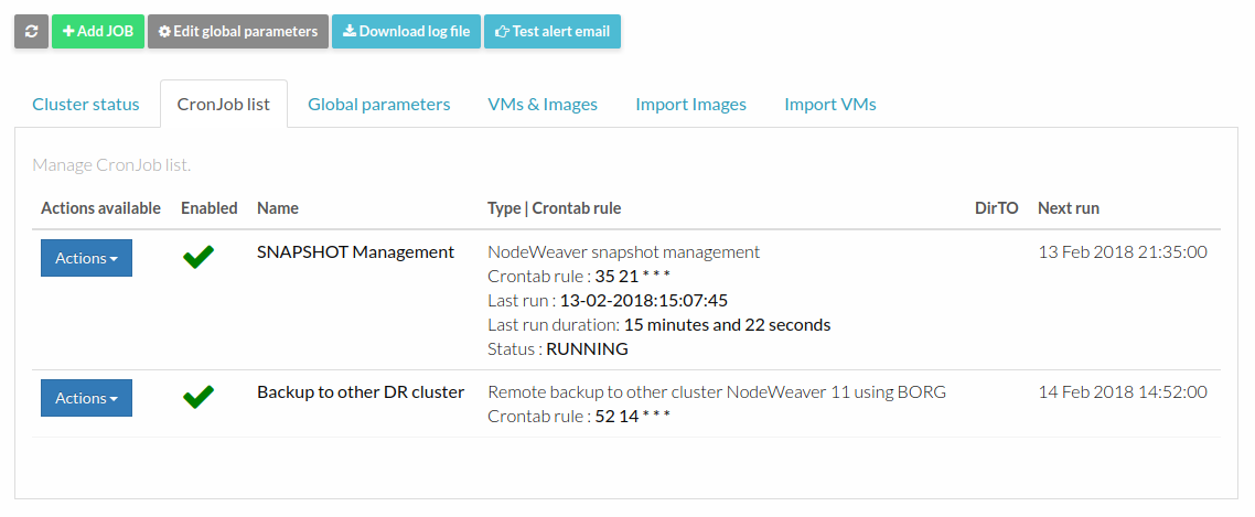 The new NodeWeaver snapshot and backup scheduler